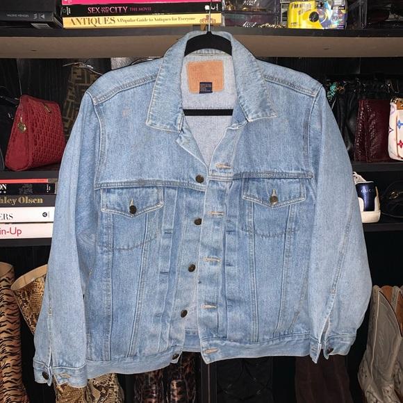 Vintage 80s Denim Boxy Cotton Blue Jean Blazer Jacket M
